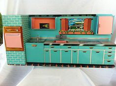 Vintage Superior Tin Modern Kitchen Toy by Cohn NY with Kitchen Items Box 1950s