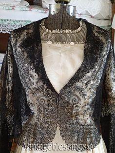 Museum Antique Chantilly Lace Jacket Civil War Era with Bishop Sleeves | eBay