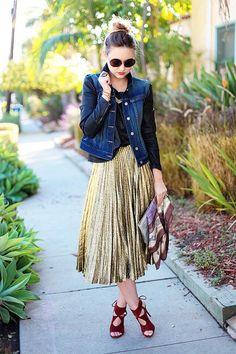 gold pleats