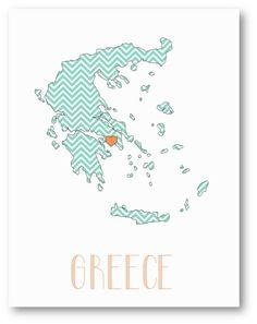 GREECE Country Love Chevron Pattern Map Art  by NikaInWonderland