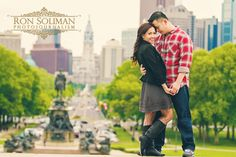 """Engagement photo shoot taken at the top of """"ROCKY STEPS"""" in front of Philadelphia Museum of Art by Ron Soliman Photojournalism"""