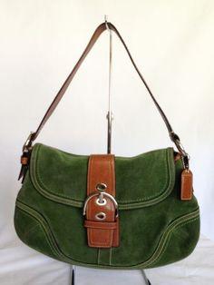 Coach Emerald Suede Soho Flap Hobo Bag Brown Leather Trim F10918 Purse Green   eBay