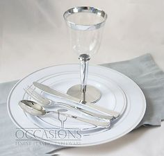 Wedding-Party-Disposable-Plastic-Plates-and-cutlery-wine-cups-w-silver-rim