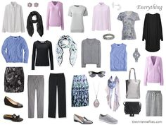 Capsule Wardrobe Accessories: Grey, Blue, Lilac and Black, 1 at a Time