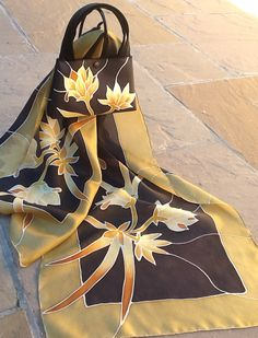 Hand painted silk scarf with matching bag. Gold & Black