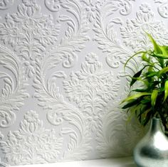 High Trad (RD80027) - Anaglypta Wallpapers - A premium, deeply textured blown vinyl wallcovering on a peelable, flat backed paper. Embossed damask design. This wallcovering is white and is designed to be painted a colour of your choice. Please ask for a sample for true texture match.