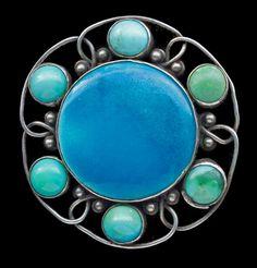 CHARLES ROBERT ASHBEE 1863-1942  Guild of Handicraft Arts & Crafts Brooch   Silver Enamel Turquoise