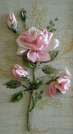 Wonderful Ribbon Embroidery Flowers by Hand Ideas. Enchanting Ribbon Embroidery Flowers by Hand Ideas. Embroidery Designs, Rose Embroidery, Silk Ribbon Embroidery, Embroidery Stitches, Embroidery Kits, Embroidery Saree, Embroidery Materials, Embroidery Supplies, Ribbon Art