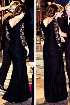 Loving Kate's up do and the back of her DVF black lace dress...