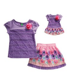 d5ce9fe8e Dollie   Me Lilac   Pink Flower Top Set   Doll Outfit - Girls