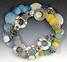 "Necklace |  Louise Fischer Cozzi, Necklace Belt ii, 2008  polymer, silver,  41″ long x 1½""w x 3/16″d  | http://louisefischercozzi.com/Pages/Jewelry.htm"