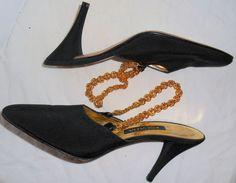 ESCADA Vintage Shoes Black Gold Chain 6.5 36.5 Leather HapaChico Haute Couture #ESCADA #Heels