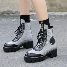 Appliques Platform Patchwork Geometric Ankle Boots