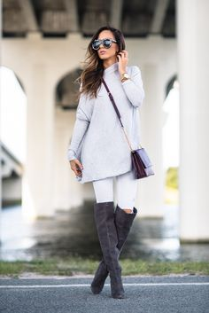 fall outfit inspiration with over the knee boots
