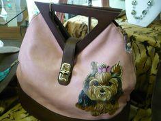 My new Handpainted by Misspaintsalot Yorkie Handbag. Love it!!!!