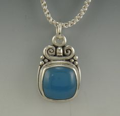 Sterling Silver Blue Chalcedony Pendant One by DenimAndDiaJewelry