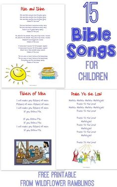 15 Bible Songs for CHILDREN{free printable!!}  -- Wildflower Ramblings