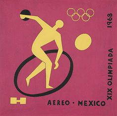 Carlos Mérida (Guatemala, active Mexico, 1891-1984)  Commemorative Postage Stamp drawing for 19th Olympic Games, 1968  Print, Silkscreen, Image: 5 7/8 x 5 7/8 in. (15 x 15 cm)  The Bernard and Edith Lewin Collection of Mexican Art (AS1997.LWN.567)  Latin American Art Department. LACMA