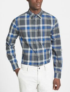 A trim fit plaid sport shirt is always a classic.