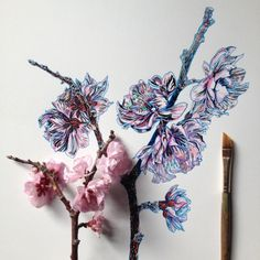 Flowers in Progress: A beautiful series of illustrations by Noel Badges Pugh -flowers, drawings, artist Illustration Noel, Botanical Illustration, Landscape Illustration, Art Floral, Plant Drawing, Painting & Drawing, Tatoo Flowers, Draw Flowers, Art Amour