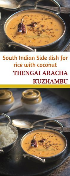 Thengai aracha kuzhambu, a coconut based South Indian side dish for rice. Quick and simple to make, a sour kuzhambu with a flavourful coconut ground masala. Bored of making sambar and vatha kuzhambu ? Looking for a simple and easy alternative for rice ? This thengai aracha kuzhambu is one of the few go-to recipes.