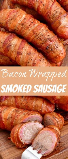 Take your smoked sausage to a whole new level when you wrap it in bacon and add a little brown sugar and pepper. This is a whole new sausage experience that you don't want to miss. It's a little sweet and has a little bite from the pepper that enriches the overall flavor of sausage. Best Appetizer Recipes, Best Appetizers, Sausage Recipes, Grilling Recipes, Pork Recipes, Dinner Recipes, Camping Recipes, Delicious Recipes, Tasty