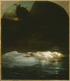 a painting of a dead woman floating in a river with a halo hovering above her head