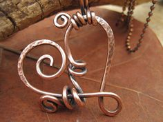 Copper Swirling Heart Pendant by LadyMaduzaDZines on Etsy, $70.00