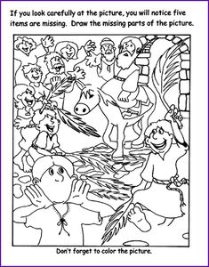 Draw The Missing Parts Of Picture Jesus Riding A Donkey Into Jerusalem