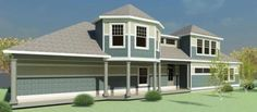 Country Style House Plans - 1847 Square Foot Home , 2 Story, 3 Bedroom and 2 Bath, 2 Garage Stalls by Monster House Plans - Plan 72-101