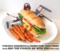 Poe'Boy X-Wing Sandwich with Sweet Poe-tato Fries Star Wars Themed Food, Star Wars Party Food, Star Wars Food, Celebration Day, Food Themes, Food Ideas, Iron Chef, Star Wars Birthday, Fries