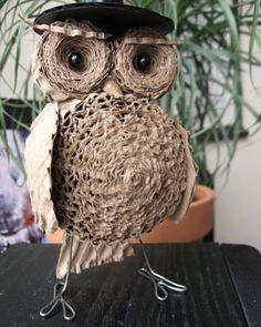rolled cardboard owl
