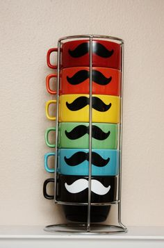 Mustache Mug Stacking Set  Multi Colored with by TheBeautifulHome, $35.00