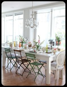 I want these type of chairs for the kitchen table. Nice and light feeling. Patio Table, Table And Chairs, A Table, Bistro Chairs, Light Table, Dining Table, Dining Room Design, Dining Area, Dining Rooms