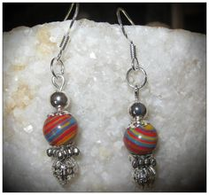 Handmade Silver Hook Earrings with Striped Gemstones by IreneDesign2011 in my Etsy Shop at https://www.etsy.com/listing/174292437