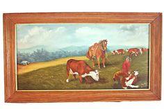 Western Calf Roping Oil Painting, Western Cowboy Oil Painting, Western Rancher Painting, Cowboy Roundup Painting, Cowboy and Horse Painting