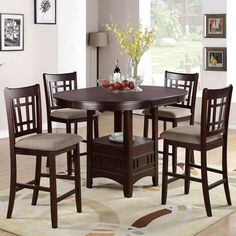 ROSY BROWN 5 PC Round Table w/ Leaf Cushion Seat Chair Counter Height Dining Set #Contemporary
