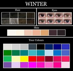 The Winter colour palette consists of pure white, silver, icy grey, charcoal, black, dark navy, true blue, royal blue, cobalt blue, icy blue, teal, turquoise, emerald green, pine green, icy yellow, true red, blue red, raspberry, burgundy, deep rose, hot pink, fuschia, magenta, royal purple, and icy violet.