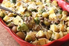 Barefeet In The Kitchen: Roasted Potatoes with Brussels Sprouts and Sausage