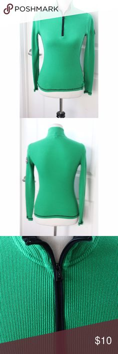 """Women's LRL Ralph Lauren Active Green Thermal Top Women's LRL Ralph Lauren Active Green Thermal Top Size Petite S Half Zip  Good Condition! No tears or snags noted. Blemish on front shown in last pic. Pics show accuracy of condition! From a pet & smoke free home  Measurements (approx):  length 22"""" pit-to-pit 14"""" waist 26"""" Ralph Lauren Tops Blouses"""