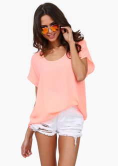 Sun Rays Top in Neon Coral