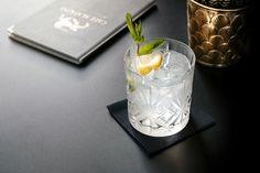 A classic Gin Fizz with a view of the new menu, Cafe Slatkine Geneva.