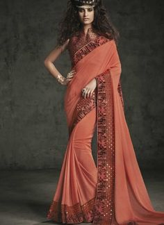 Tomato Red Embroidery Work Satin Georgette Designer Party Wear Sarees http://www.angelnx.com/Sarees