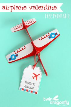 AirPlane Valentine and printable gift tag -repinned from LA officiant https://OfficiantGuy.com