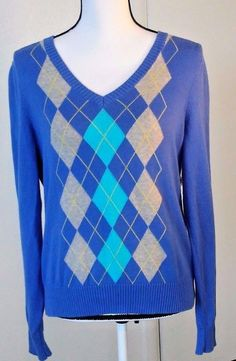 IZOD Womens Size Large Argyle Pullover Sweater Blue Gray Yellow V Neck MSRP $62 | Clothing, Shoes & Accessories, Women's Clothing, Sweaters | eBay!