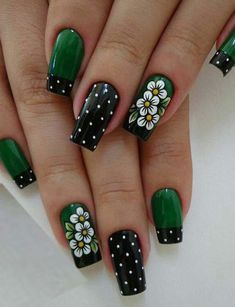 elegant autumn nail designs have to try blackish green floral stiletto nails inspo 13 ~ thereds.me : elegant autumn nail designs have to try blackish green floral stiletto nails inspo 13 ~ thereds. Cute Nail Art Designs, Green Nail Designs, Nail Designs Spring, Nail Polish Designs, Nails Design, Acrylic Nail Designs, Green Nail Art, Green Nails, Spring Nail Art