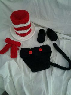 "Crocheted ""Cat in the Hat"" inspired Baby Hat, Neck tie, and Diaper Cover Photo Prop"