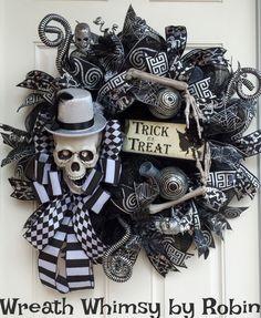 Halloween Skeleton Black & Silver Deco Mesh Wreath, Skeleton Decor, Fall Wreath, Halloween Decor, XL Skeleton Wreath, Elegant Skeleton by…