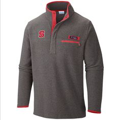 North Carolina State Wolfpack Columbia Men's Grey Harborside Jacket Earthy heathered fleece lends warmth and rugged style on this versatile fleece pullover with