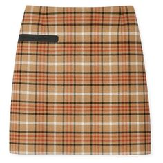 Tory Burch Plaid Side-Pocket Skirt ($250) ❤ liked on Polyvore featuring skirts, bottoms, plaid, mid thigh skirt, plaid skirt, checkered skirt, beige skirt and tartan plaid skirt